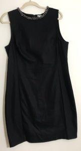 H&M Black Dress With Beaded Neck Trim Zip Back